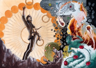 """I cinque Elementi (The Five Elements)"" - Inside illustration for the book ""Pearls Of Juggling"" by Anthony Trahair, published in 2015 - Acrylics on paper"