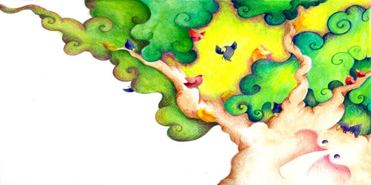 """La Quercia e gli uccellini""- illustration for the book ""La Quercia e la stella"", personal project, watercolor"